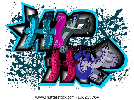 Graffiti sign hip hop - stock vector
