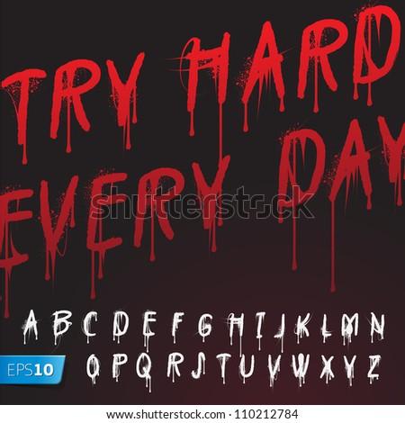 Graffiti splash alphabet, vector Eps10 image. - stock vector