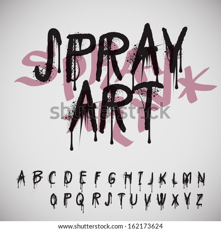 Graffiti splash alphabet, vector image.  - stock vector