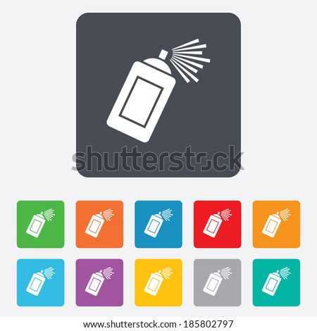 Graffiti spray can sign icon. Aerosol paint symbol. Rounded squares 11 buttons. Vector