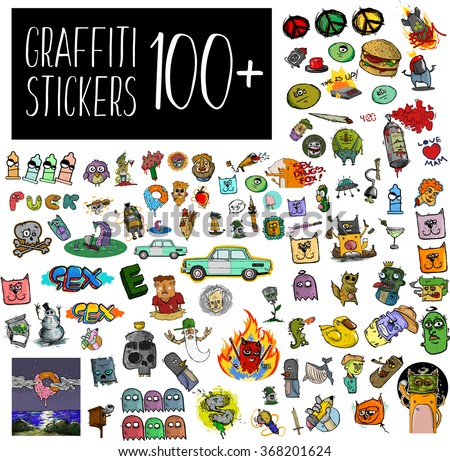 Graffiti stickers set. A big set of quirky cartoon patch badges or fashion pin badges. Vector set of graffiti bizarre characters. funny baby toys doodle stickers set. vector doodle collection. - stock vector