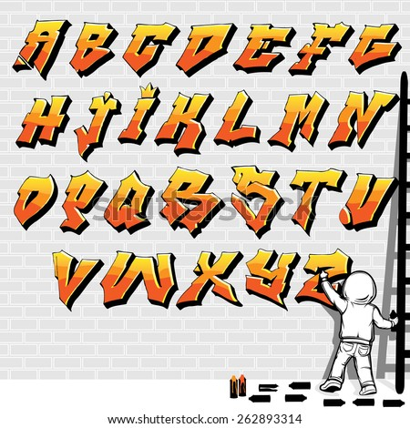 Graffiti Style font, fire like, kid painting on brick wall, Part 1/2 - stock vector