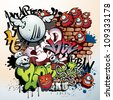 graffiti urban art elements - stock vector