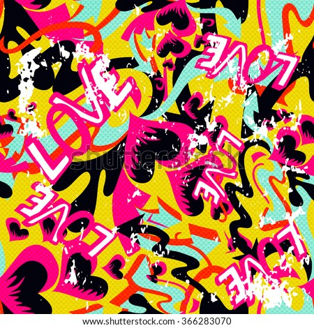 graffiti Valentine Day seamless background grunge texture - stock vector