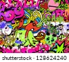 Graffiti wall art background. Hip-hop style seamless texture pattern - stock photo