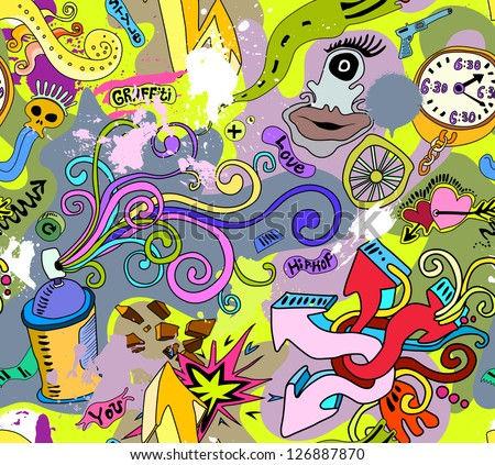 Graffiti wall art background. Hip-hop style seamless texture pattern - stock vector