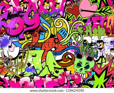 Graffiti wall art background. Hip-hop style seamless texture pattern - stock vector