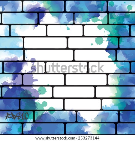 Graffiti wall background with blue watercolor splashes, urban art - stock vector