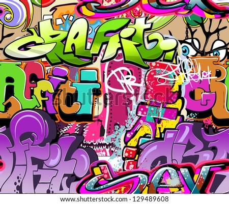 Graffiti wall. Urban art vector background. Seamless hip hop texture - stock vector