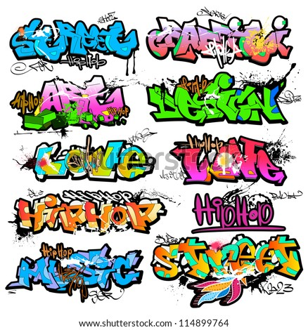 Graffiti wall vector urban art - stock vector