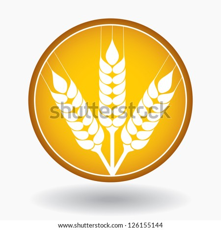 Grain ears with circle, vector illustration - stock vector