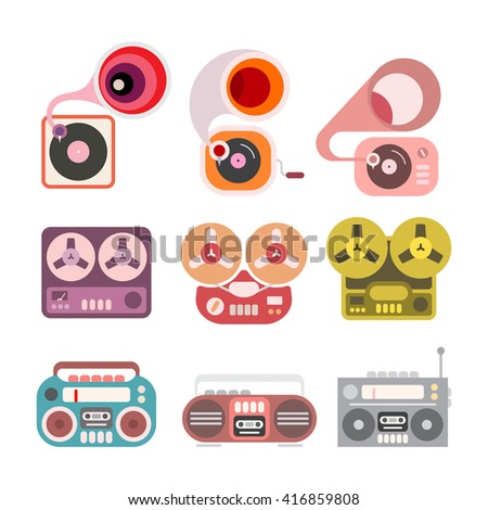 Gramophone and tape player flat vector icons isolated on a white background. Boom box, tape recorder and gramophone. - stock vector
