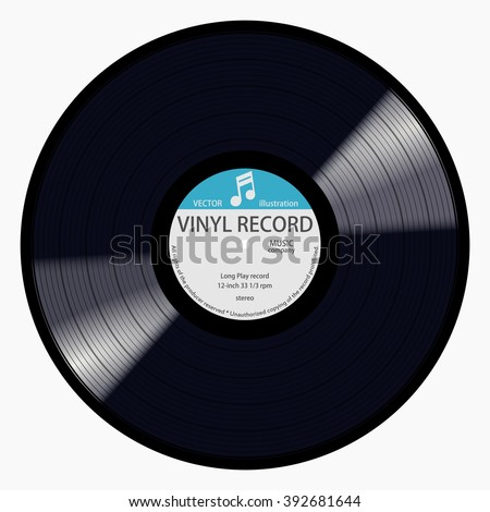 Gramophone blue label vinyl LP record with music note. Black musical long play album disc 33 rpm. old technology, realistic retro design, vector art image illustration, isolated on white background - stock vector
