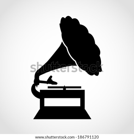 Gramophone Icon Isolated on White Background - stock vector