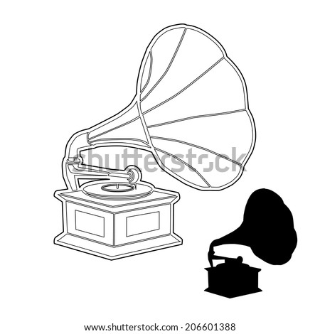 GRAMOPHONE outline and silhouette vector - stock vector