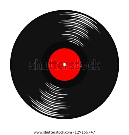 gramophone record with red label