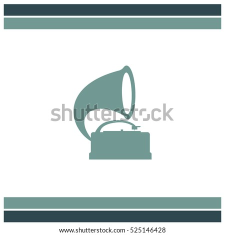 Gramophone vector icon. Record player sign. Vintage music symbol