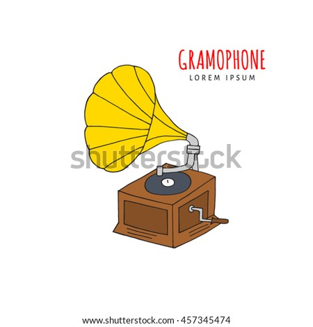 Gramophone vector illustration hand drawn doodle isolated. Music icon sketch.