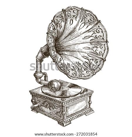 gramophone vector logo design template. music or vinyl record, nostalgia icon. - stock vector