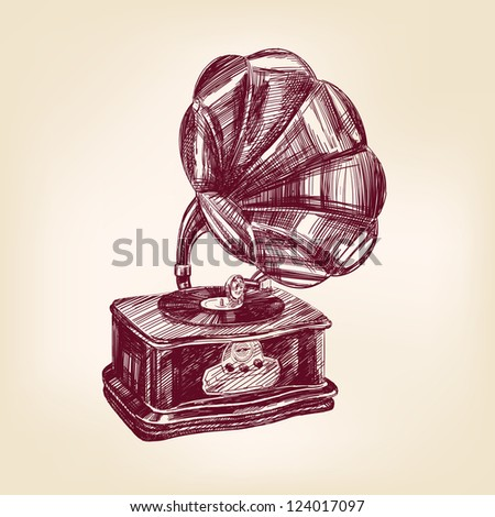 gramophone- vintage hand drawn vector illustration  isolated