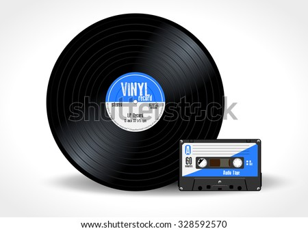 Gramophone vinyl LP record and music cassette with blue label. Long play album disc 33 rpm and compact audio tape - realistic retro design, vector art image illustration isolated on white background - stock vector
