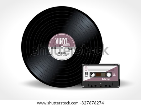 Gramophone vinyl LP record and music cassette with purple label. Long play album disc 33 rpm and compact audio tape - realistic retro design, vector art image illustration isolated on white background - stock vector