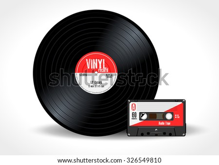 Gramophone vinyl LP record and music cassette with red label. Long play album disc 33 rpm and compact audio tape - realistic retro design, vector art image illustration, isolated on white background - stock vector