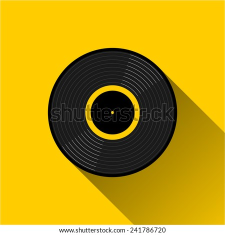 Gramophone vinyl LP record - web icon. Black musical long play album disc with yellow label. old technology concept, flat and shadow theme design, vector art image illustration, isolated on background - stock vector