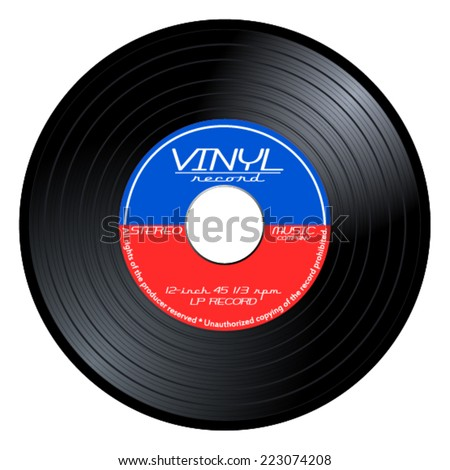 Gramophone vinyl LP record with blue and red label. Black musical long play album disc 45 rpm. old tehnology, realistic retro design, vector art image illustration, isolated on white background eps10 - stock vector