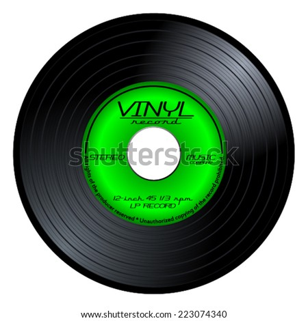 Gramophone vinyl LP record with green label. Black musical long play album disc 45 rpm. old music technology, realistic retro design, vector art image illustration isolated on white background eps10 - stock vector