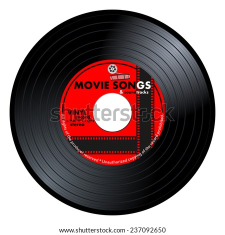 Gramophone vinyl LP record with red movie songs label. Black musical long play album disc 45 rpm. old technology, realistic retro design, vector art image illustration, isolated on white background - stock vector