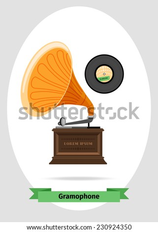 Gramophone with record