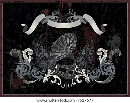 Gramophone with wing on grunge background, vector illustration - stock vector