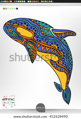 Grampus. Animal patterns with hand-drawn doodle waves and lines. Vector illustration in bright colors.