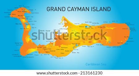 Grand Cayman islands vector map  - stock vector