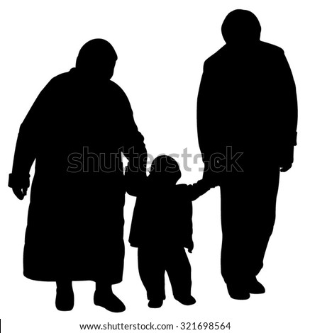 grand father and grand mother walking with baby grand son, silhouette vector