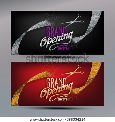 Grand Opening banners with abstract gold and silver ribbons and scissors - stock vector