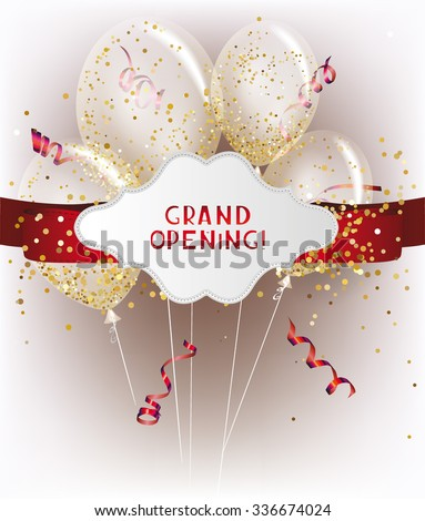 Grand opening banners with red ticker tape and transparent air balloons with gold confetti inside - stock vector