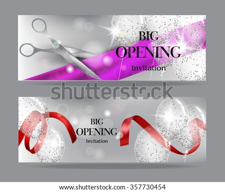 Grand opening banners with transparent air balloons and shiny konfetti - stock vector