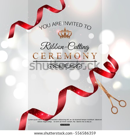 Grand Opening Card Design Red Ribbon Stock Vector