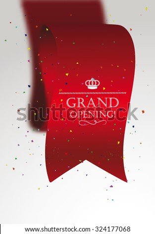 Grand opening card with confetti, red ribbon - stock vector