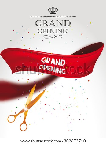 Grand opening card with gold scissors, confetti and red  ribbon - stock vector