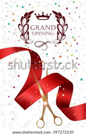 Grand opening card with gold scissors,confetti and red ribbon - stock vector