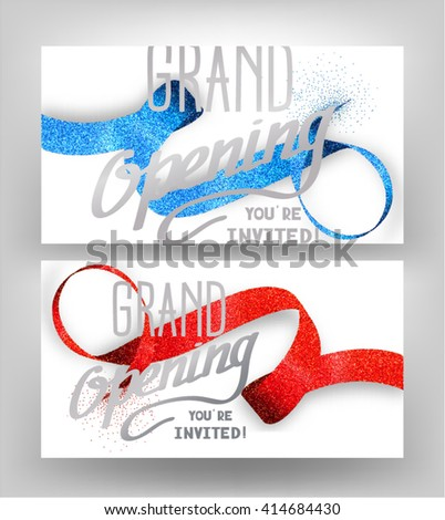 Grand opening  cards with stippling ribbons - stock vector