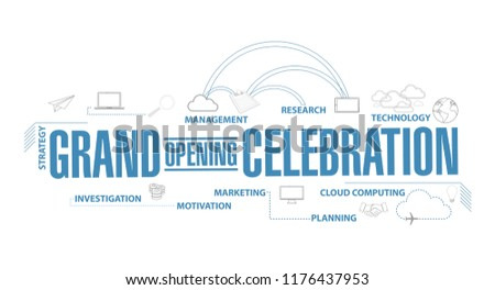 Grand opening celebration diagram plan concept isolated over a white background
