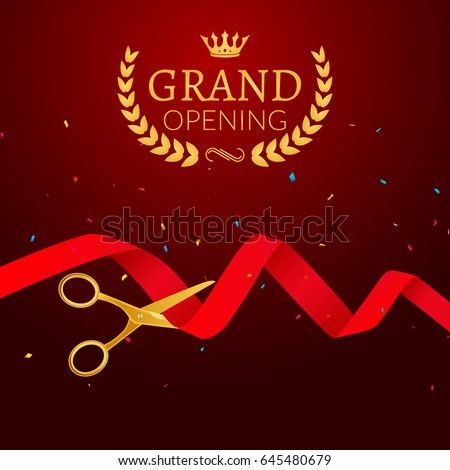 grand opening ceremony design template ribbonのベクター画像素材
