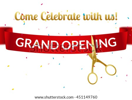 grand opening design template ribbon scissors stock vector royalty