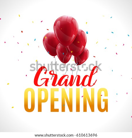 Grand opening event invitation banner red stock vector 610613696 grand opening event invitation banner with red balloons and confetti grand opening ceremony poster template stopboris Choice Image