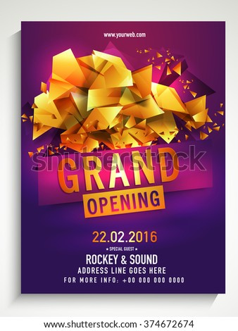 Grand Opening Flyer, Banner or Template decorated with glossy golden abstract design. - stock vector