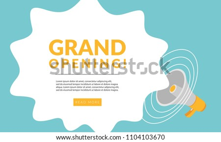 Grand Opening Flyer Poster Banner Template Concept With Megaphone